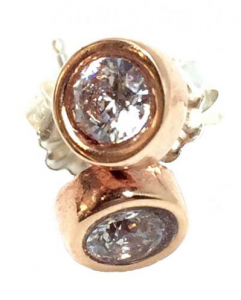 Pink bronze and CZ crystal stud earrings