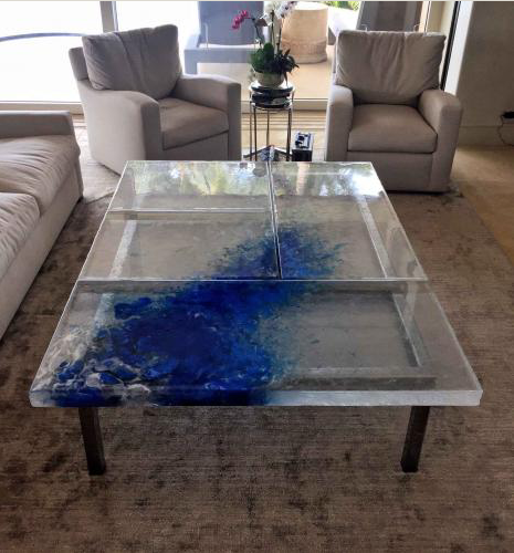 Heather Cuell custom cast glass coffee table