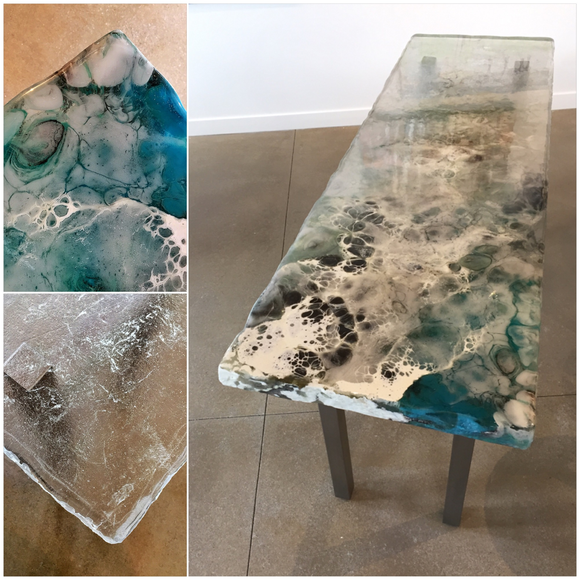 Winter Flow 1, cast glass console table by Heather Cuell