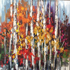 In the Stillness, birch tree painting by Kimberly Kiel | Effusion Art Gallery + Cast Glass Studio, Invermere BC