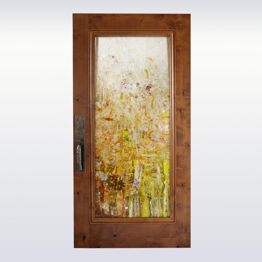 Custom Cast Glass Front Door Panel Effusion Art Gallery Glass Studio