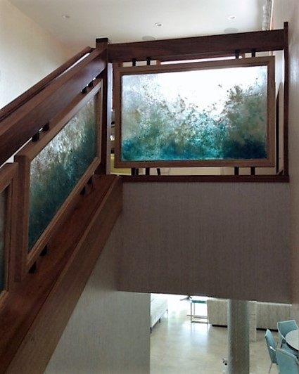 Custom cast glass railings by Heather Cuell