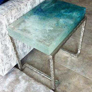 Custom cast glass side table - Maui Series, by artist Heather Cuell