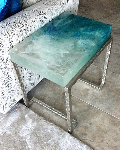 Custom cast glass side table - Maui Series, by artist Heather Cuell