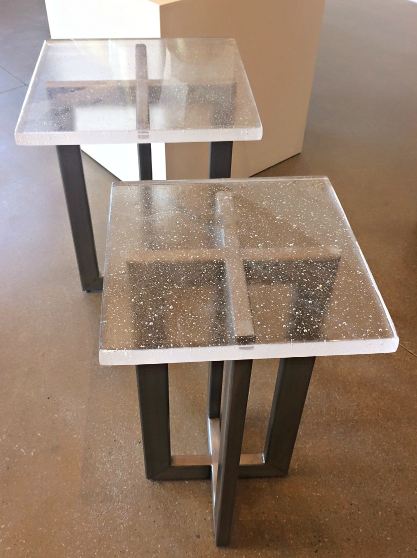 Custom cast glass and stainless steel side tables by Heather Cuell