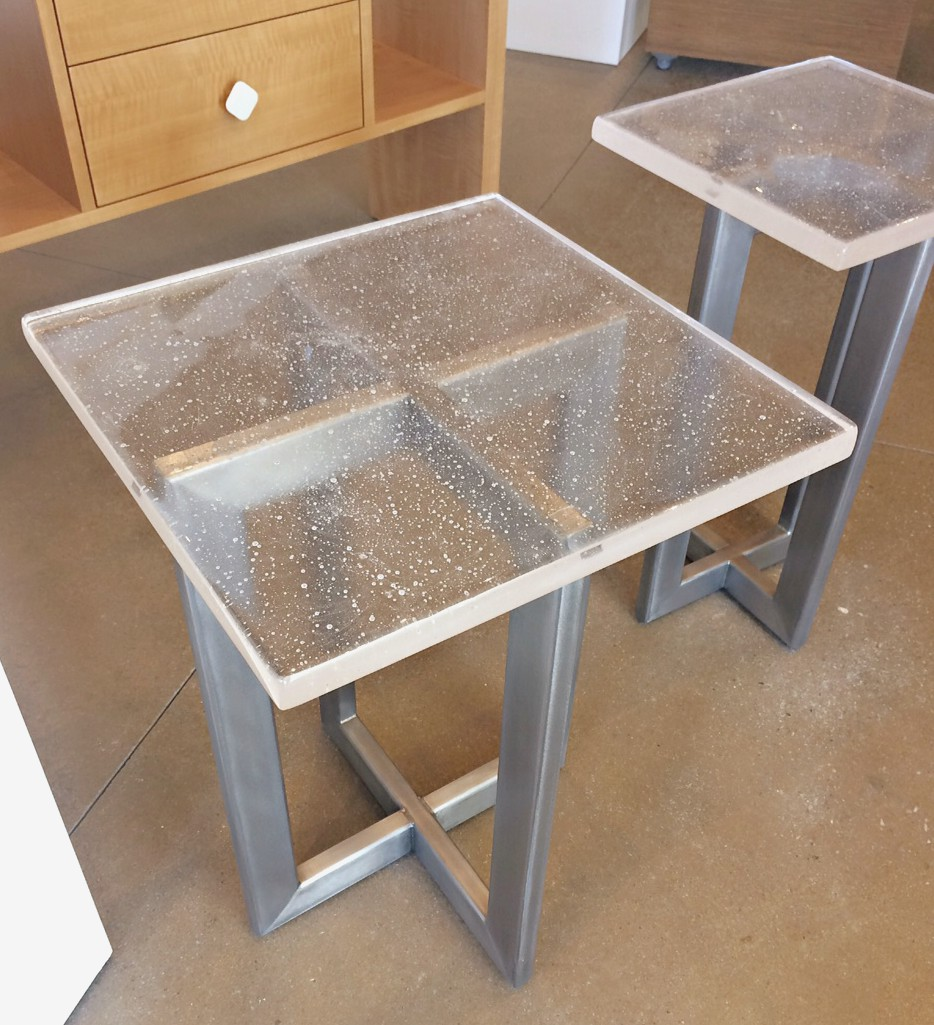 Cast glass and stainless steel side tables by Heather Cuell