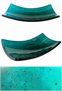 Deep in Blue cast glass platter by Heather Cuell | Effusion Art Gallery + Cast Glass Studio, Invermere BC