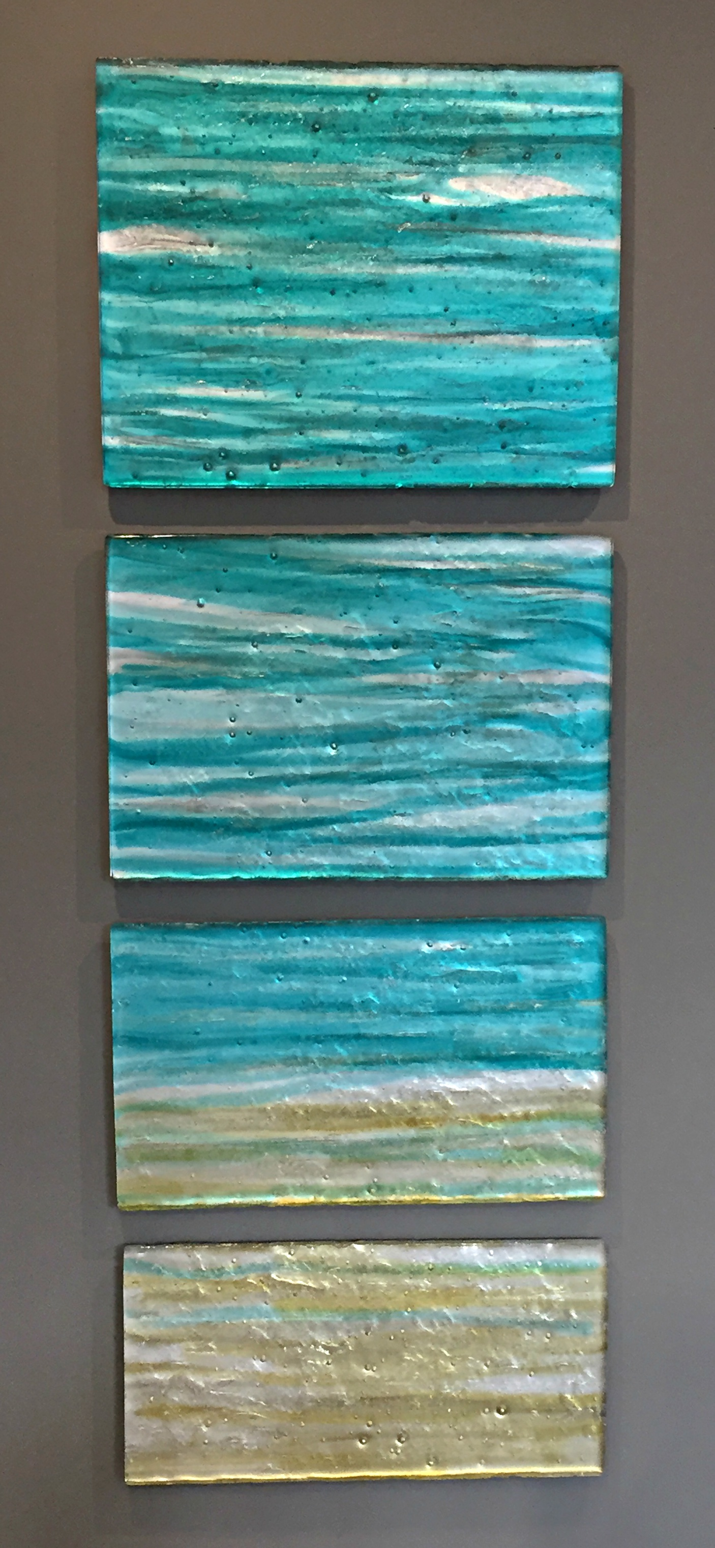 Blue Infinity, cast glass panels by Heather Cuell | Effusion Art Gallery + Cast Glass Studio, Invermere BC