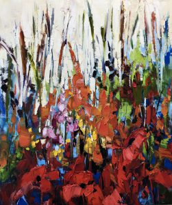 Wild Exuberance, oil painting by Kimberly Kiel | Effusion Art Gallery + Cast Glass Studio, Invermere BC