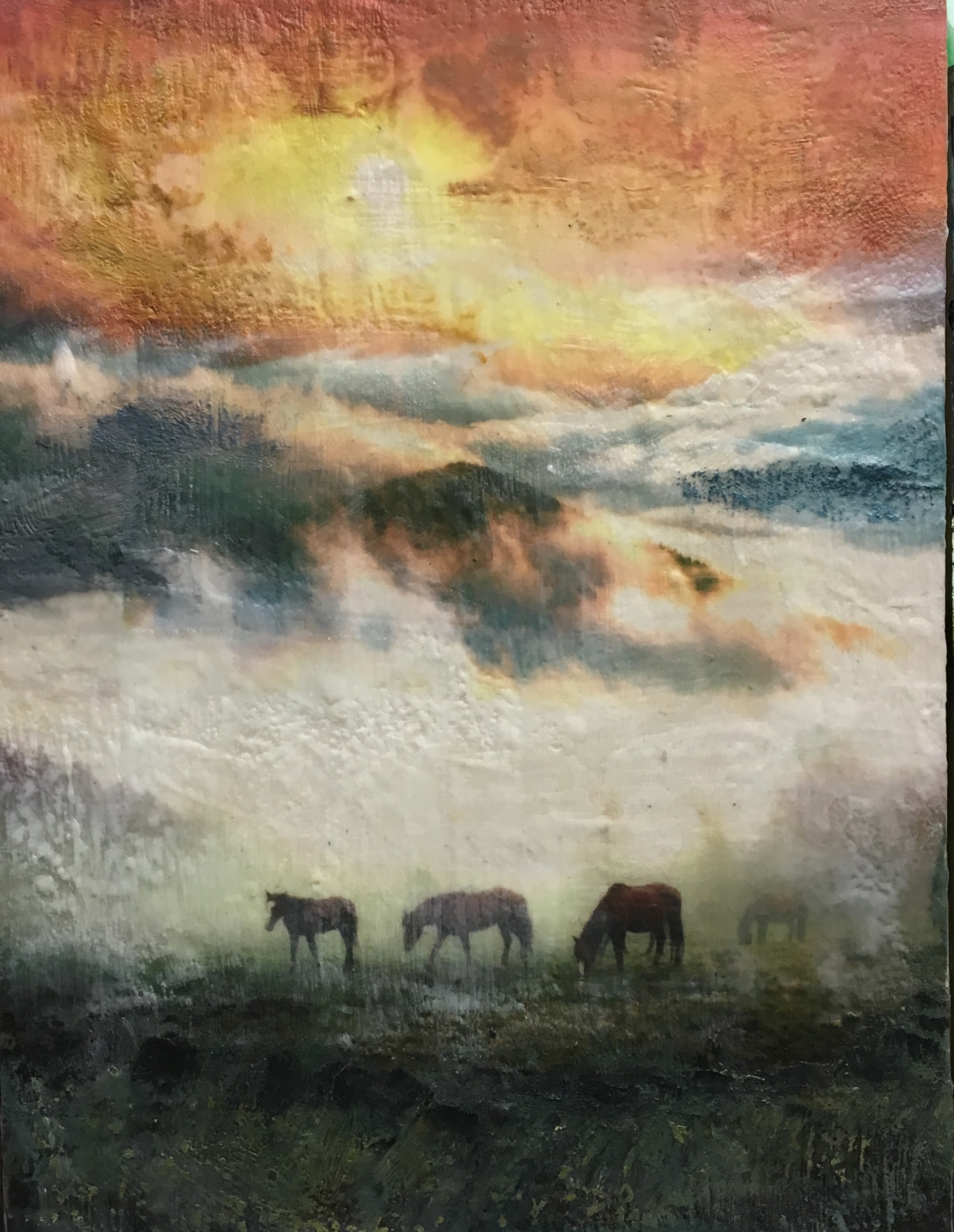 Home on the Range, encaustic painting by Lee Anne LaForge | Effusion Art Gallery + Cast Glass Studio, Invermere BC
