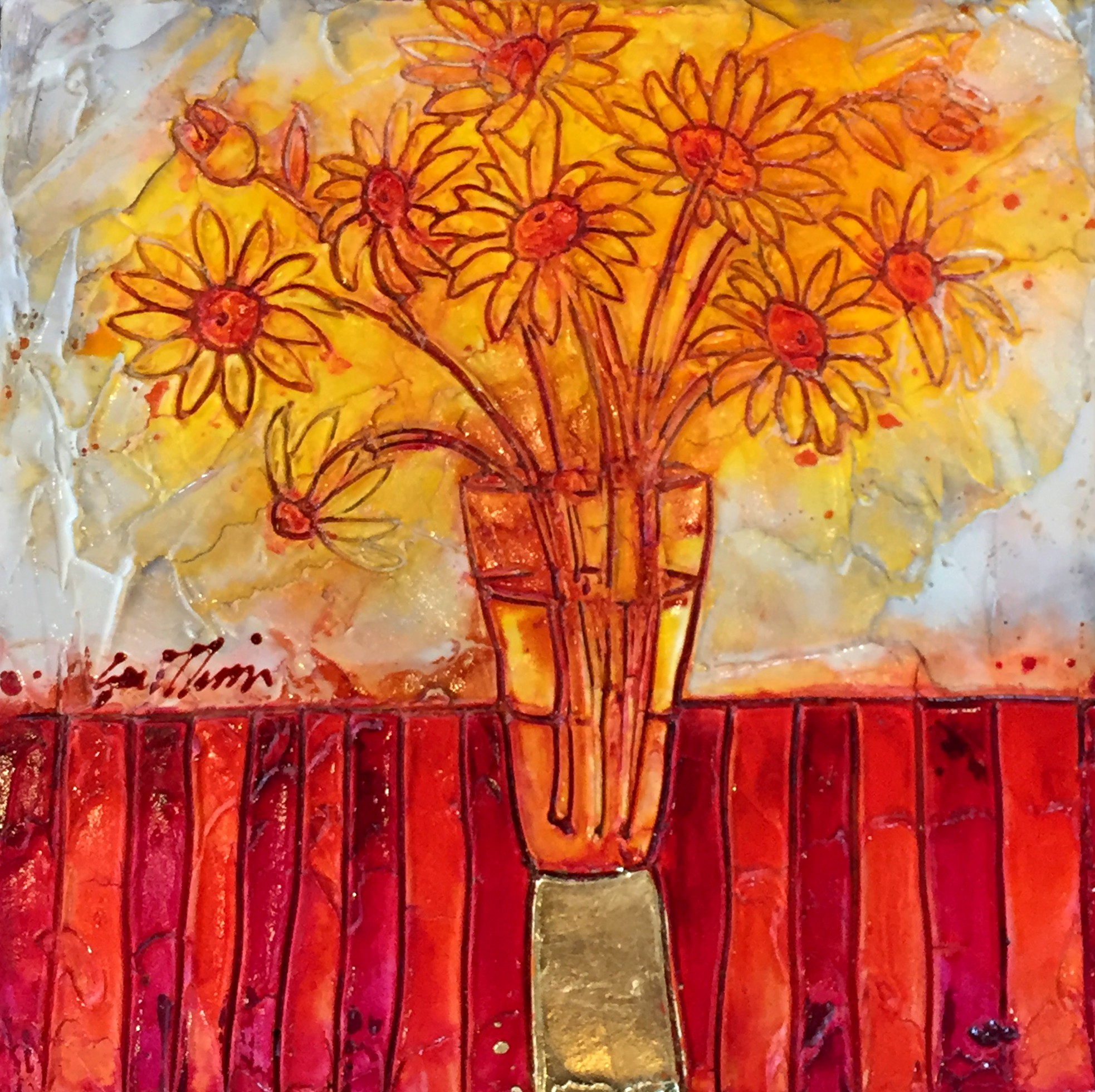 Daisies in Glass, mixed media painting by Joanne Gauthier | Effusion Art Gallery + Cast Glass Studio, Invermere BC