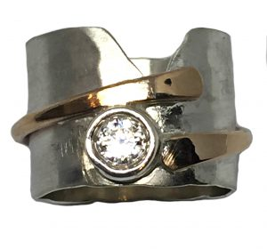 Sterling Silver, Bronze, and CZ Ring by Karyn Chopik | Effusion Art Gallery + Cast Glass Studio, Invermere BC