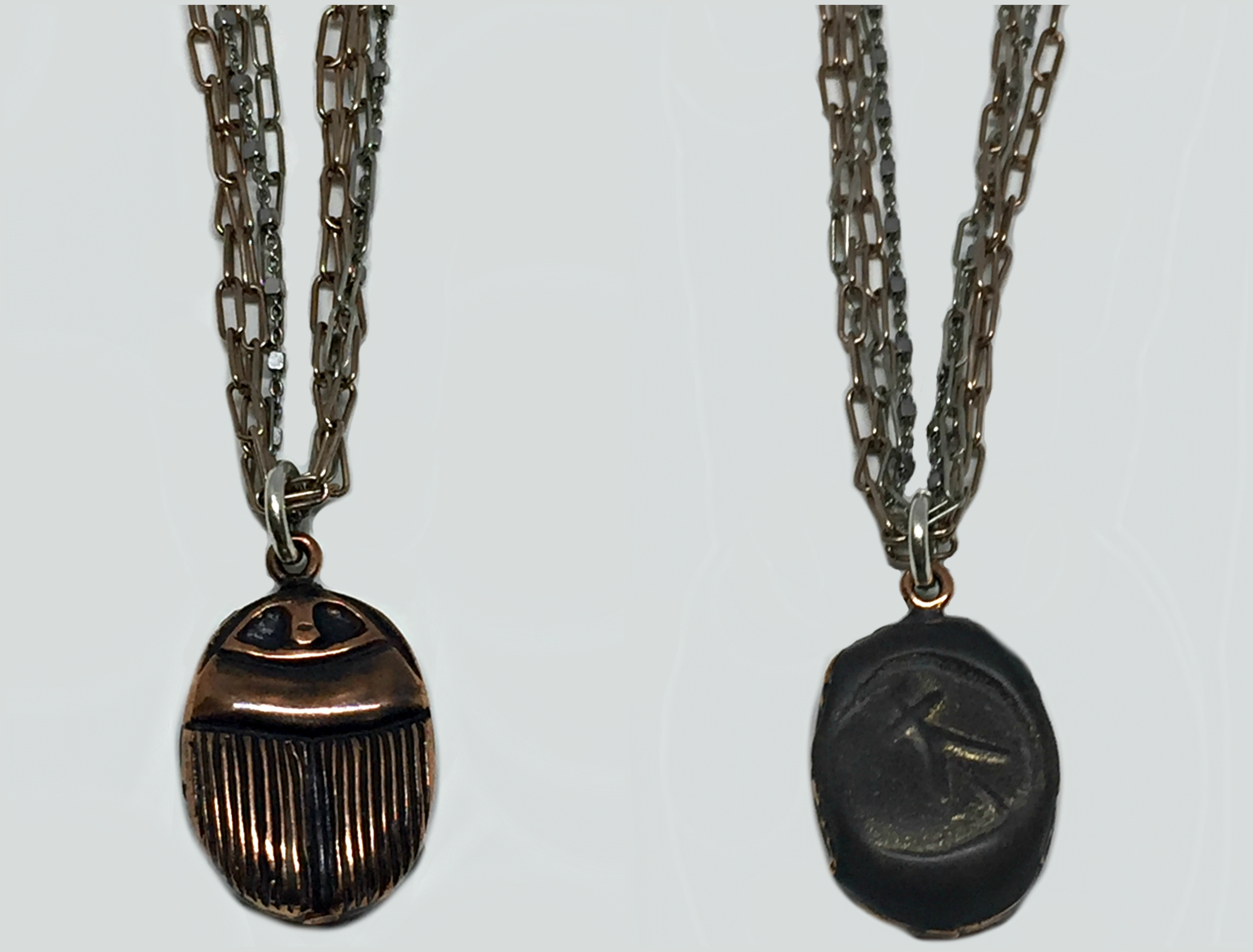 Rose Gold, Sterling Silver, + Resin Scarab Pendant Necklace by Karyn Chopik | Effusion Art Gallery + Cast Glass Studio, Invermere BC