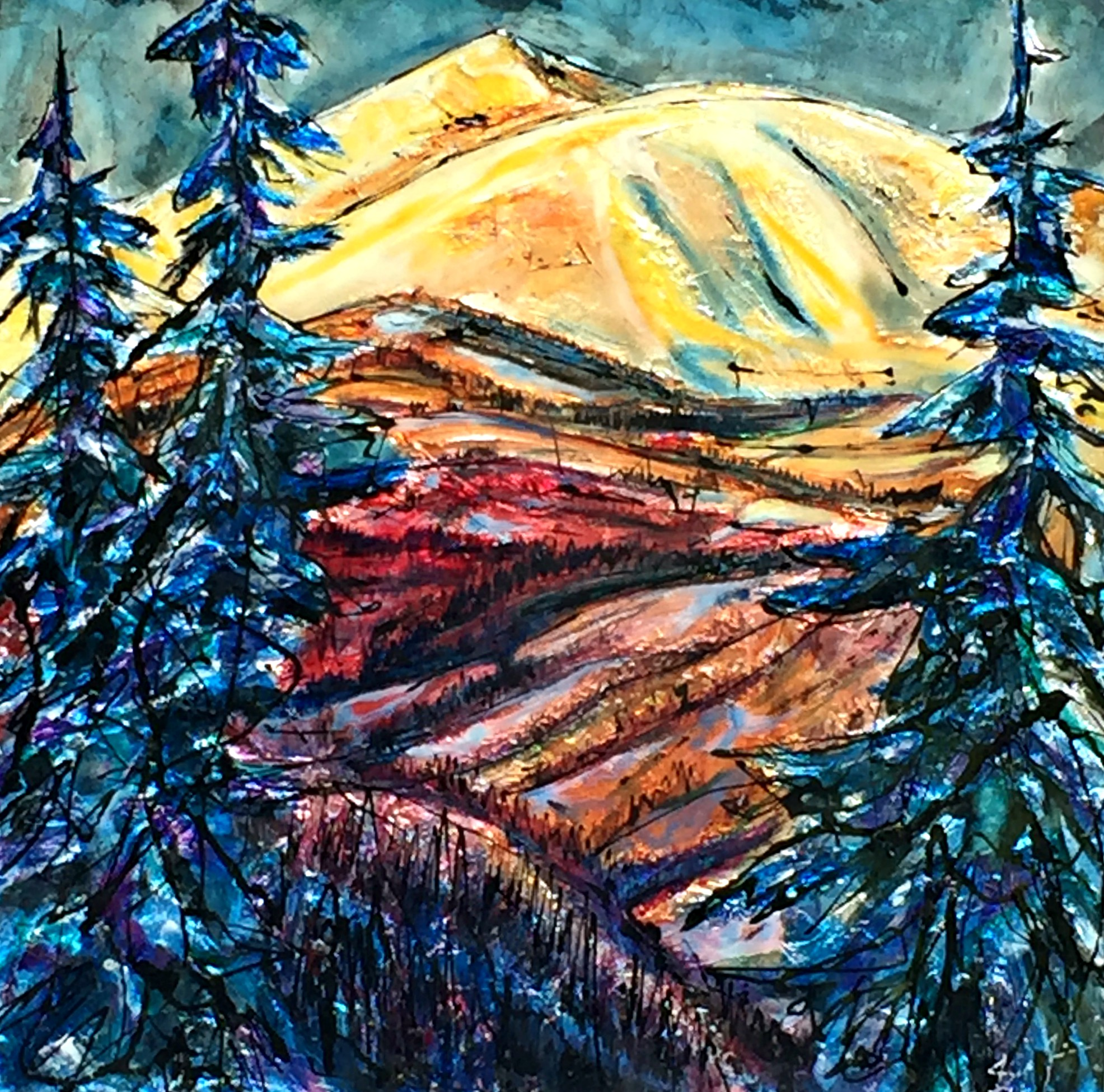 Moose this Year, Moose Mountain mixed media landscape painting by David Zimmerman | Effusion Art Gallery + Cast Glass Studio, Invermere BC