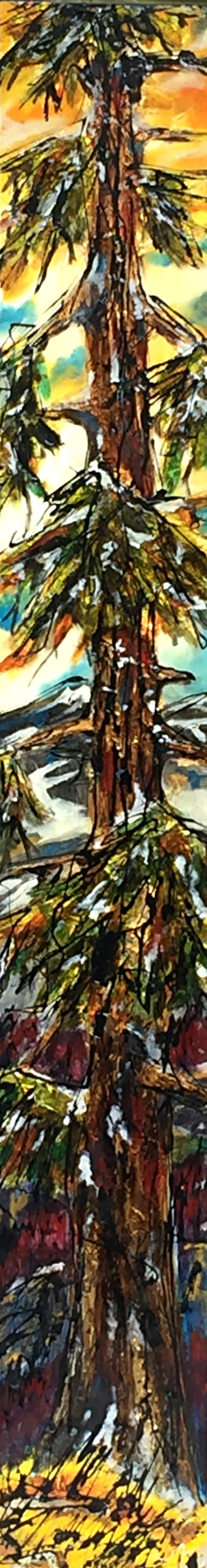We Didn't Talk, mixed media tree painting by David Zimmerman | Effusion Art Gallery + Cast Glass Studio, Invermere BC