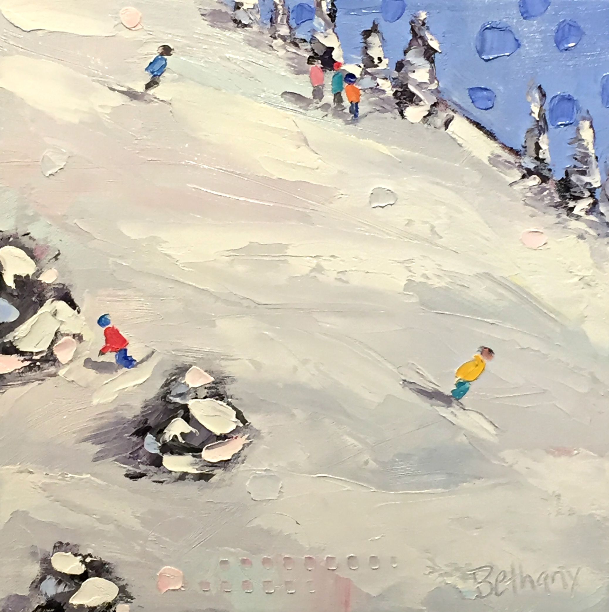 Fresh Snow, ski painting by Bethany Harper Williams | Effusion Art Gallery + Cast Glass Studio, Invermere BC
