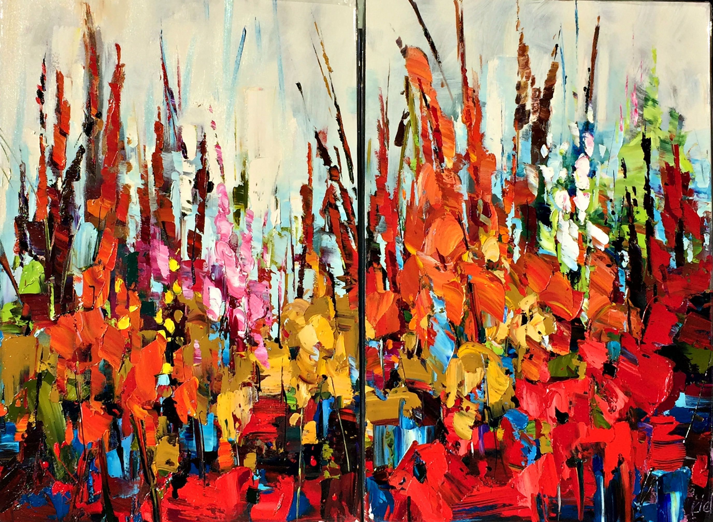 Having Their Fun, oil painting by Kimberly Kiel | Effusion Art Gallery + Cast Glass Studio, Invermere BC