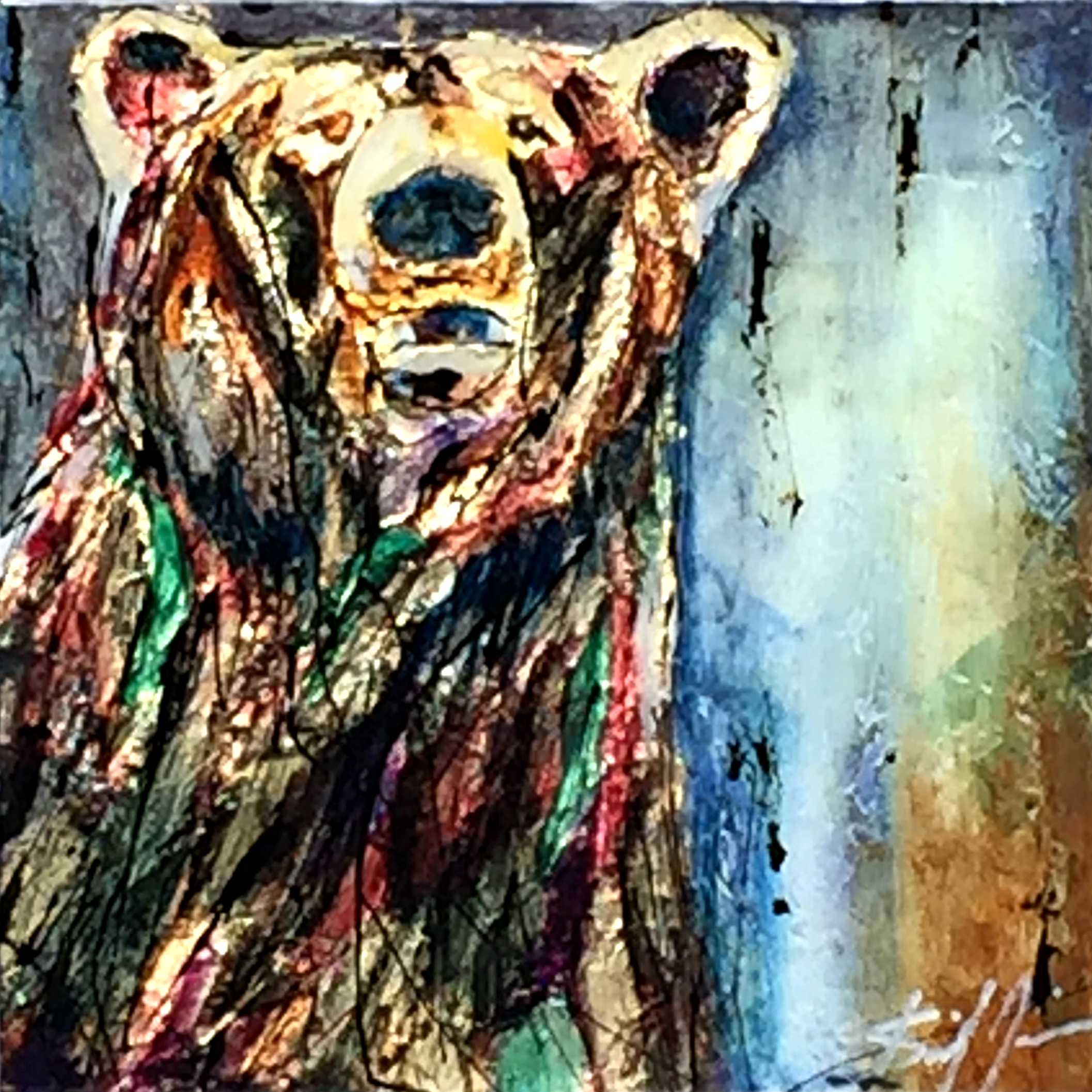 Making Sure, mixed media bear painting by David Zimmerman | Effusion Art Gallery + Cast Glass Studio, Invermere BC