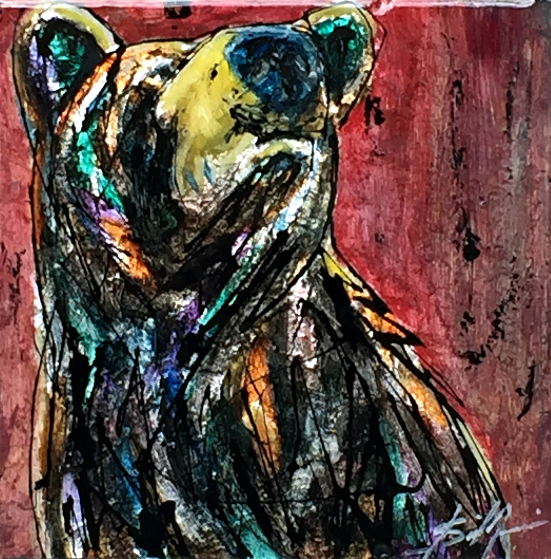 Not Interested, mixed media bear painting by David Zimmerman | Effusion Art Gallery + Cast Glass Studio, Invermere BC