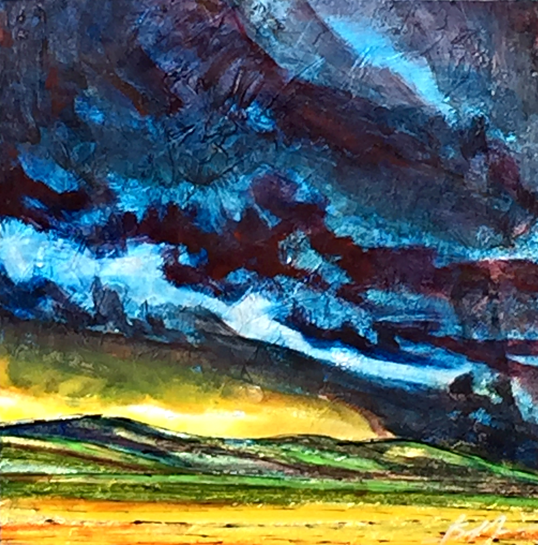 Summer Brooding, mixed media landscape painting by David Zimmerman | Effusion Art Gallery + Cast Glass Studio, Invermere BC