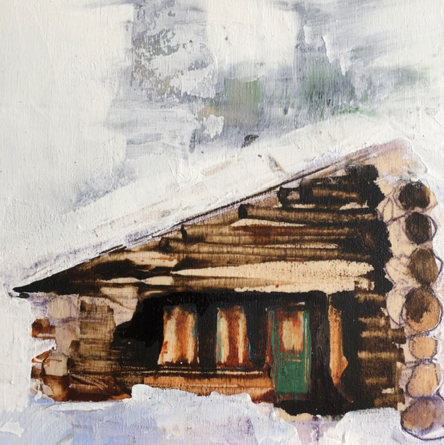 Snow Day 2, acrylic cabin painting by Sarinah Haba | Effusion Art Gallery + Cast Glass Studio, Invermere BC