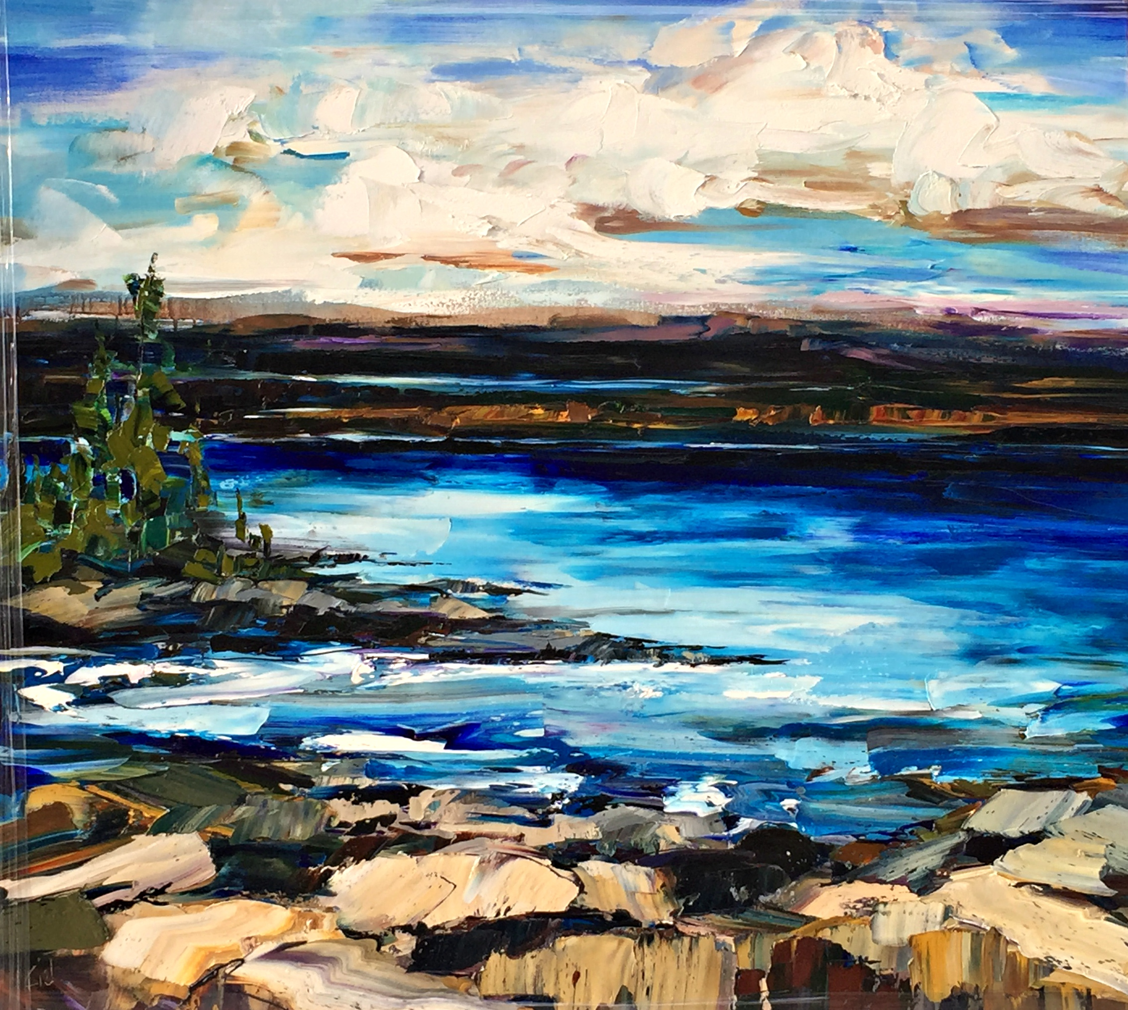 Another Day, landscape oil painting by Kimberly Kiel   Effusion Art Gallery + Cast Glass Studio, Invermere BC