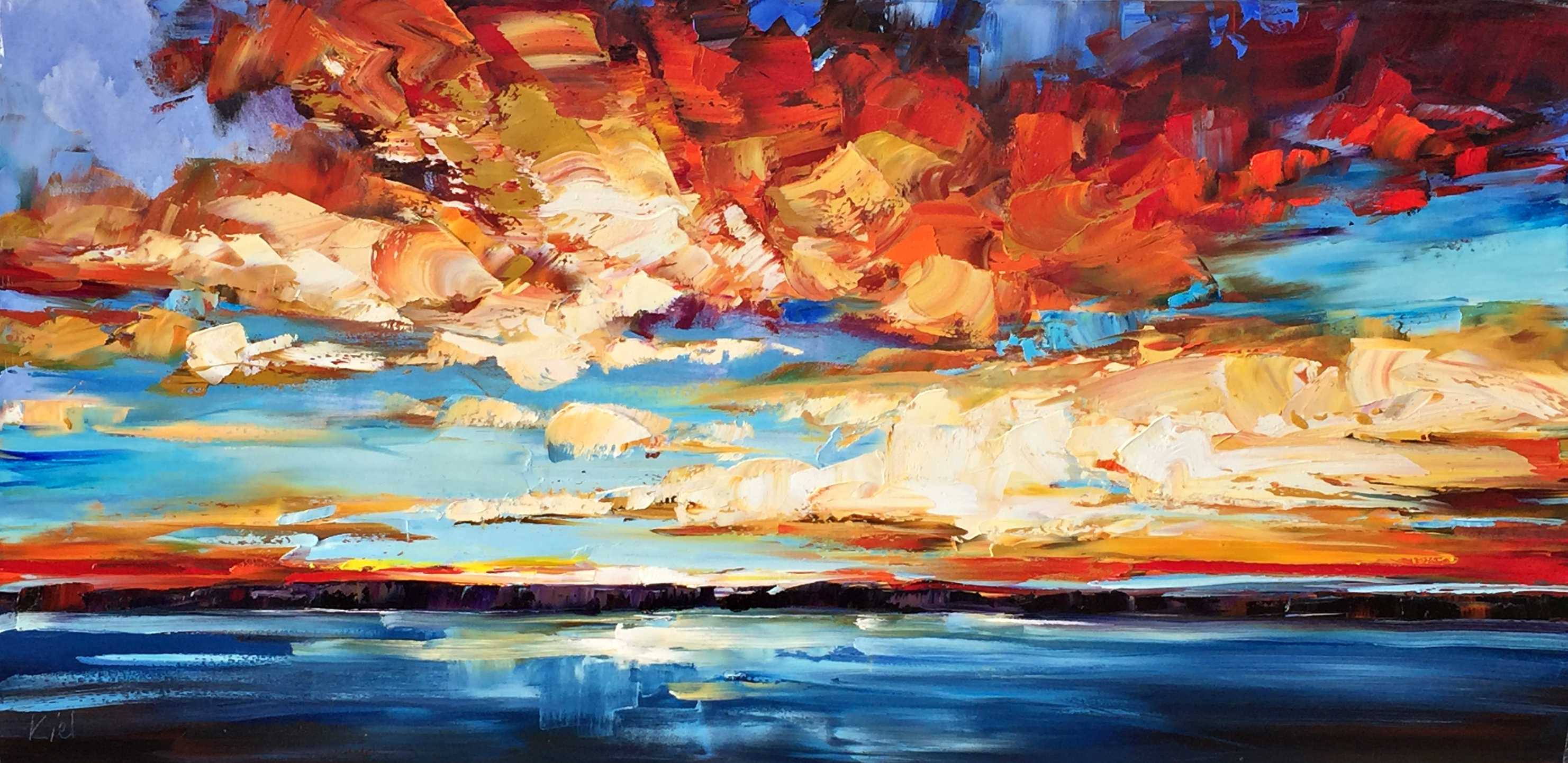 Rise + Shine, sunrise oil painting by Kimberly Kiel | Effusion Art Gallery + Cast Glass Studio, Invermere BC