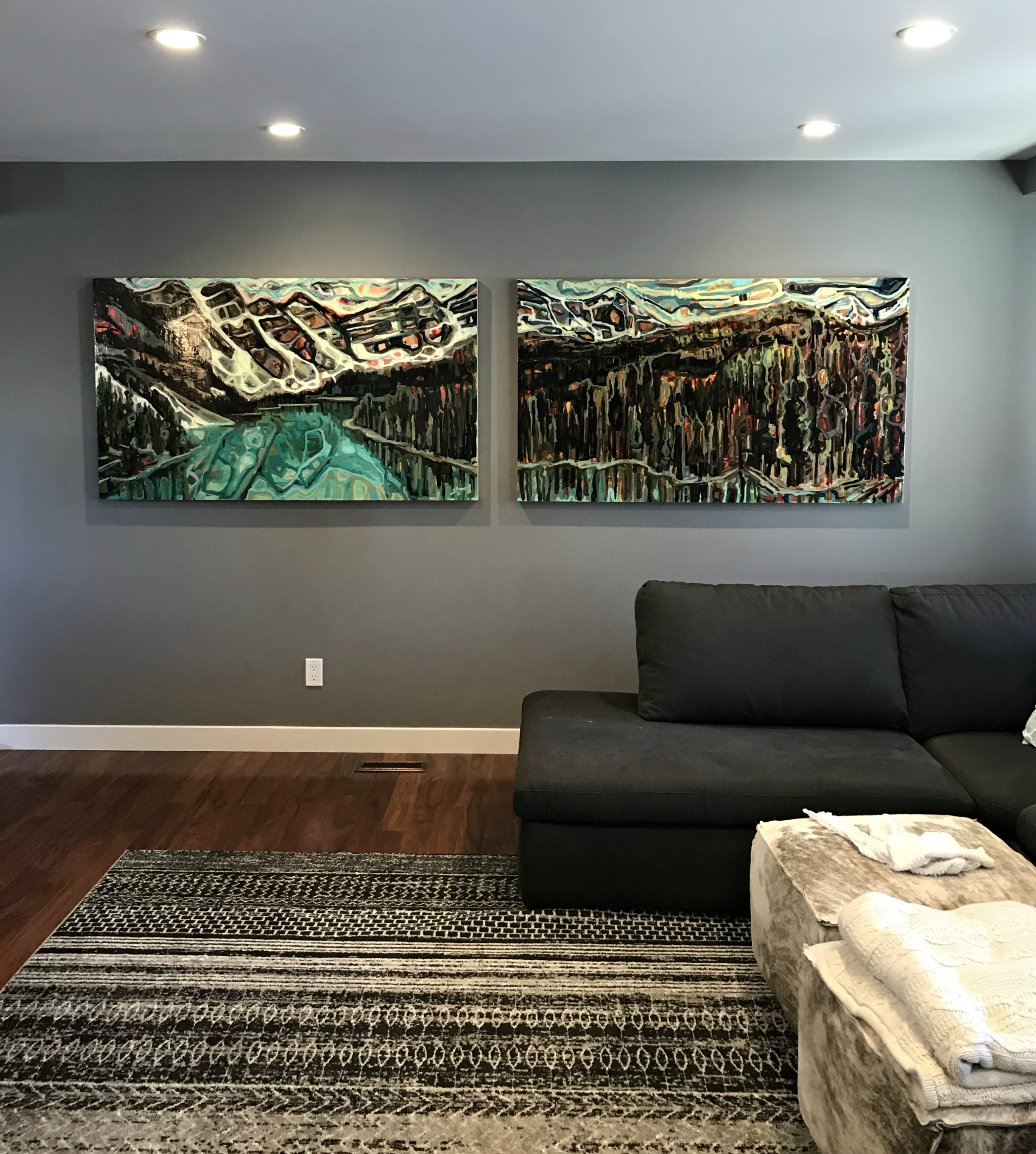 Moraine Lake in June, acrylic landscape painting by Sandy Kunze | Effusion Art Gallery + Cast Glass Studio, Invermere BC