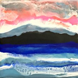 Winter Pink Sky, encaustic painting by Marie Danielle Leblanc | Effusion Art Gallery + Cast Glass Studio, Invermere BC