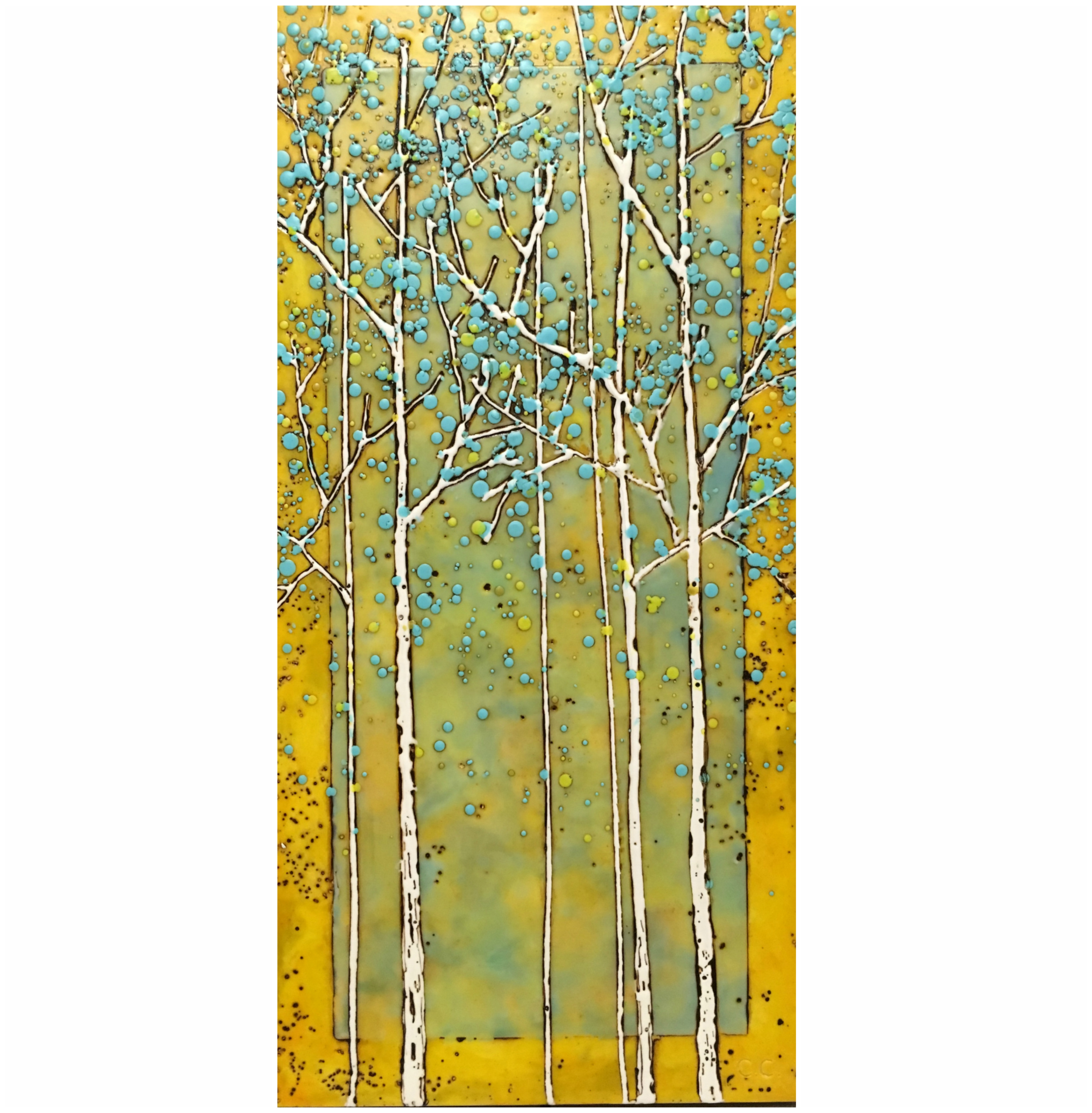 She Made it Happen, encaustic tree painting by Catharine Clarke | Effusion Art Gallery + Cast Glass Studio, Invermere BC