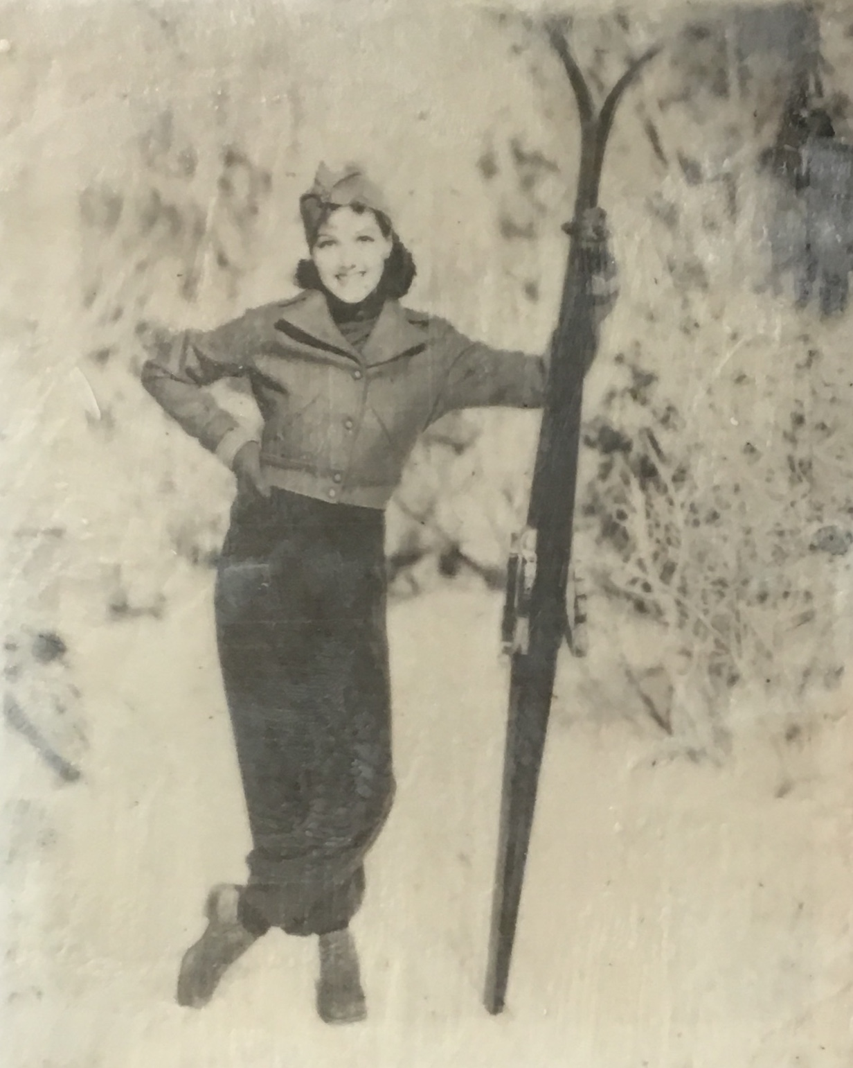 Vintage Skier 1, Encaustic painting by Lee Anne LaForge | Effusion Art Gallery + Cast Glass Studio, Invermere BC
