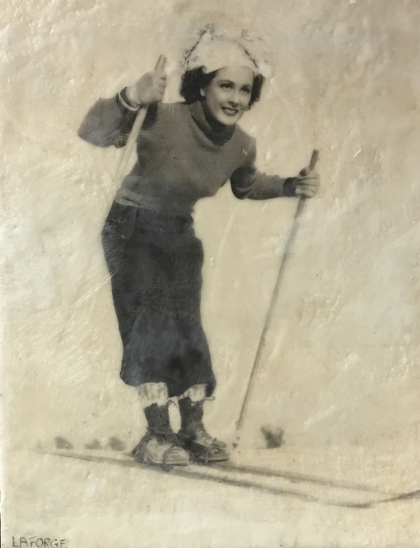Vintage Skier 3, Encaustic painting by Lee Anne LaForge   Effusion Art Gallery + Cast Glass Studio, Invermere BC