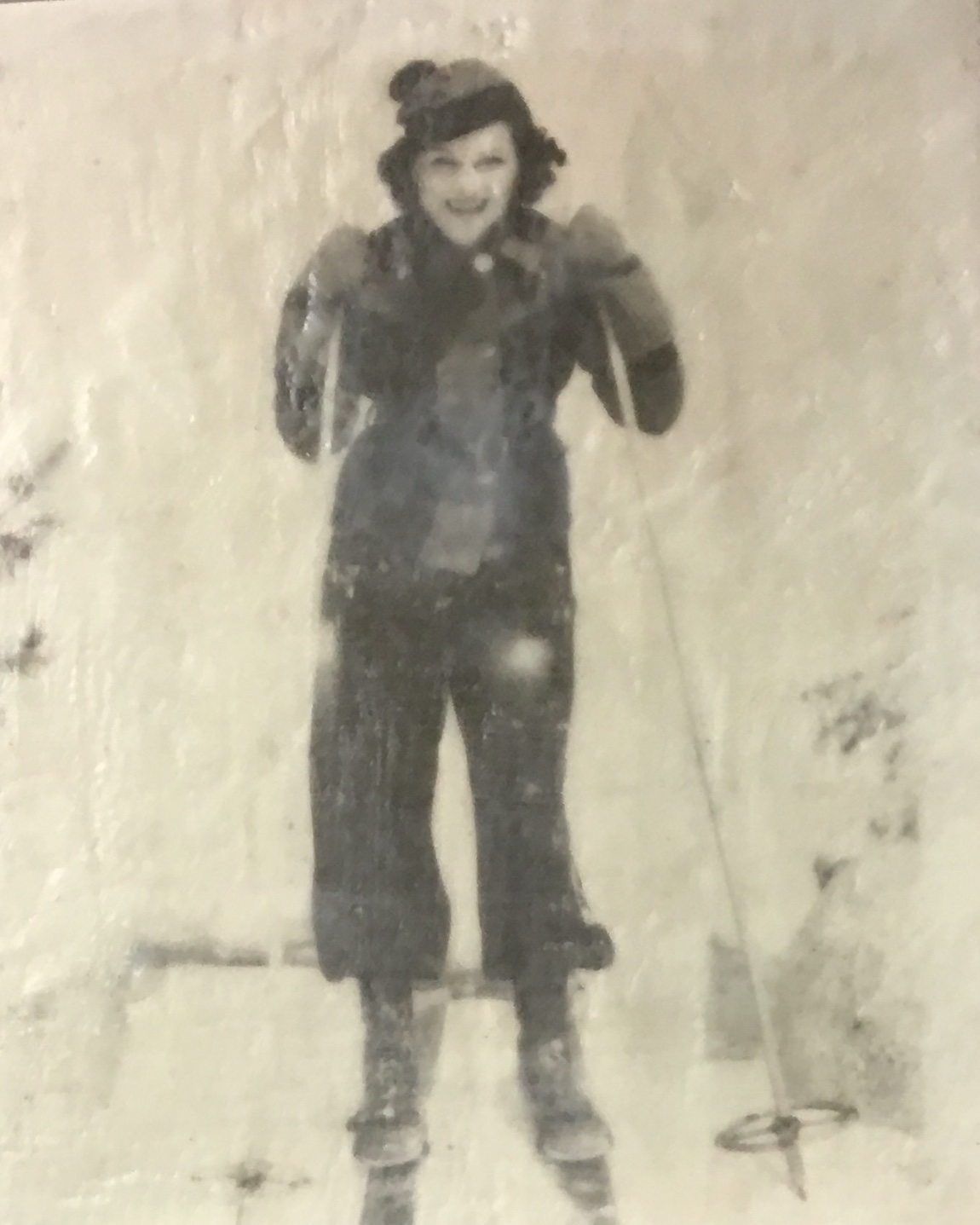 Vintage Skier 4, Encaustic painting by Lee Anne LaForge | Effusion Art Gallery + Cast Glass Studio, Invermere BC