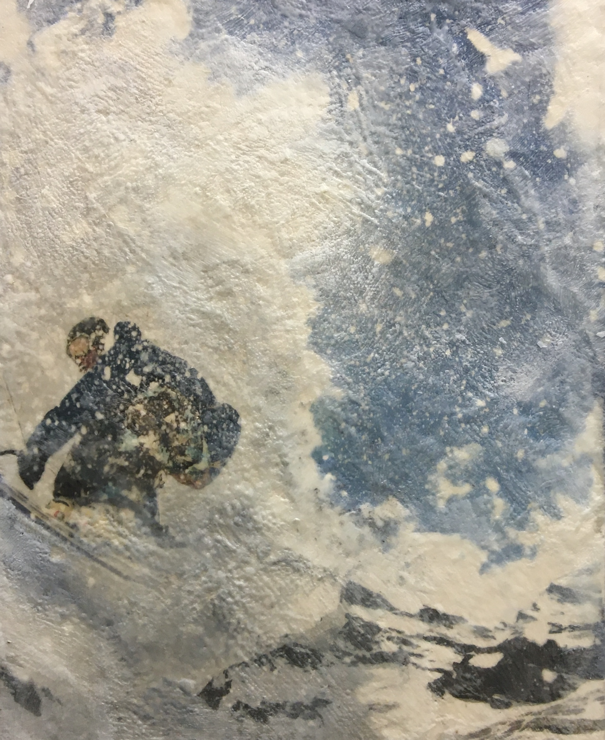 Back Country, encaustic ski painting by Lee Anne LaForge | Effusion Art Gallery + Cast Glass Studio, Invermere BC
