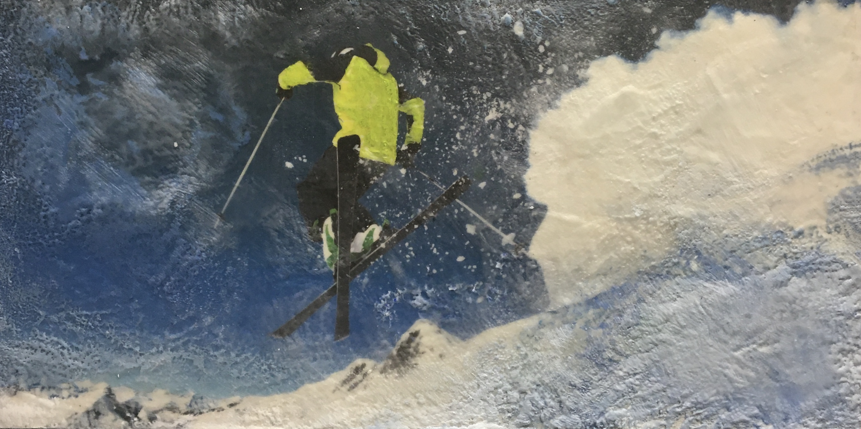 Deep Powder 2, encaustic ski painting by Lee Anne LaForge | Effusion Art Gallery + Cast Glass Studio, Invermere BC
