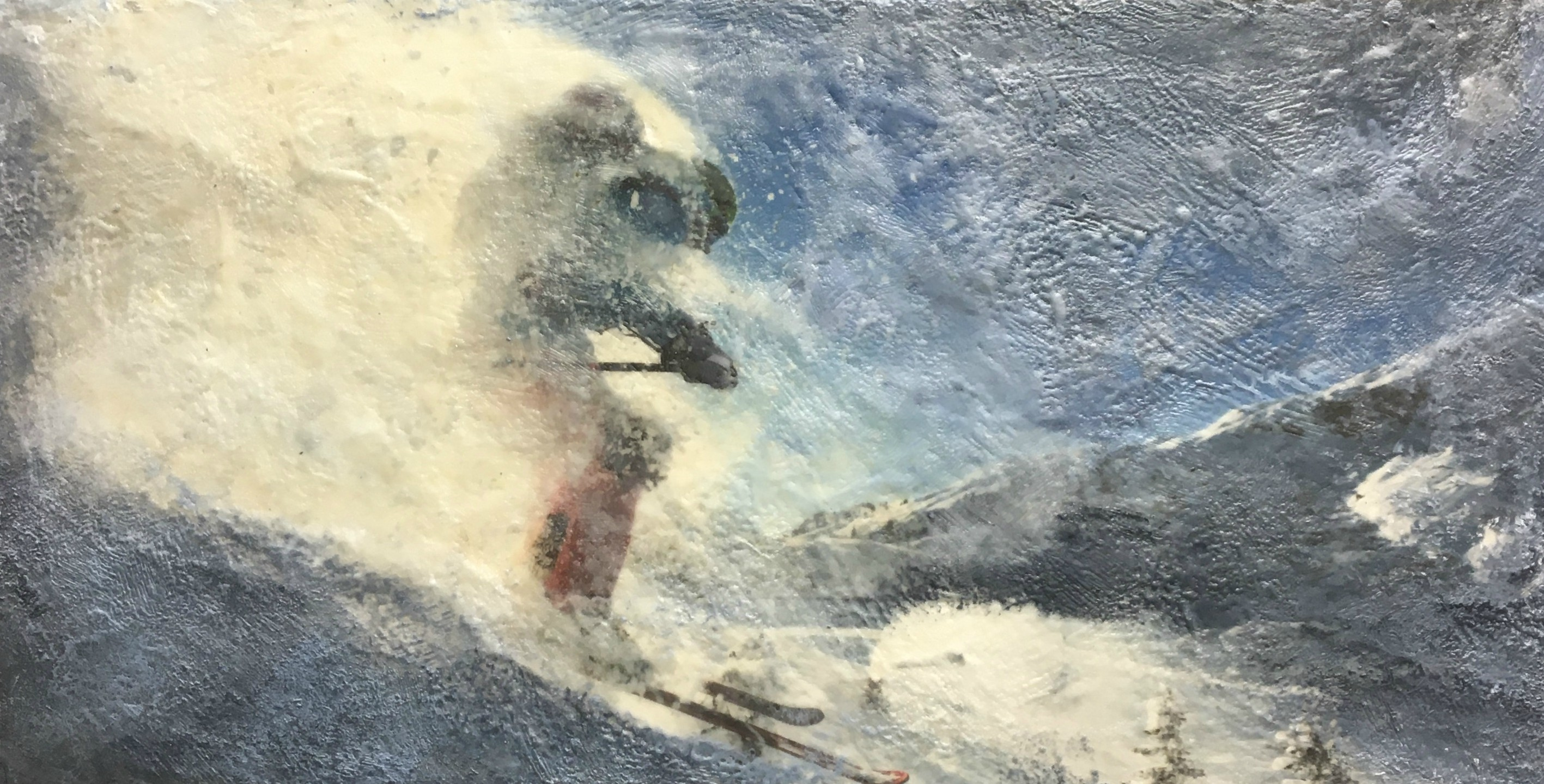 Deep Powder, encaustic ski painting by Lee Anne LaForge | Effusion Art Gallery + Cast Glass Studio, Invermere BC