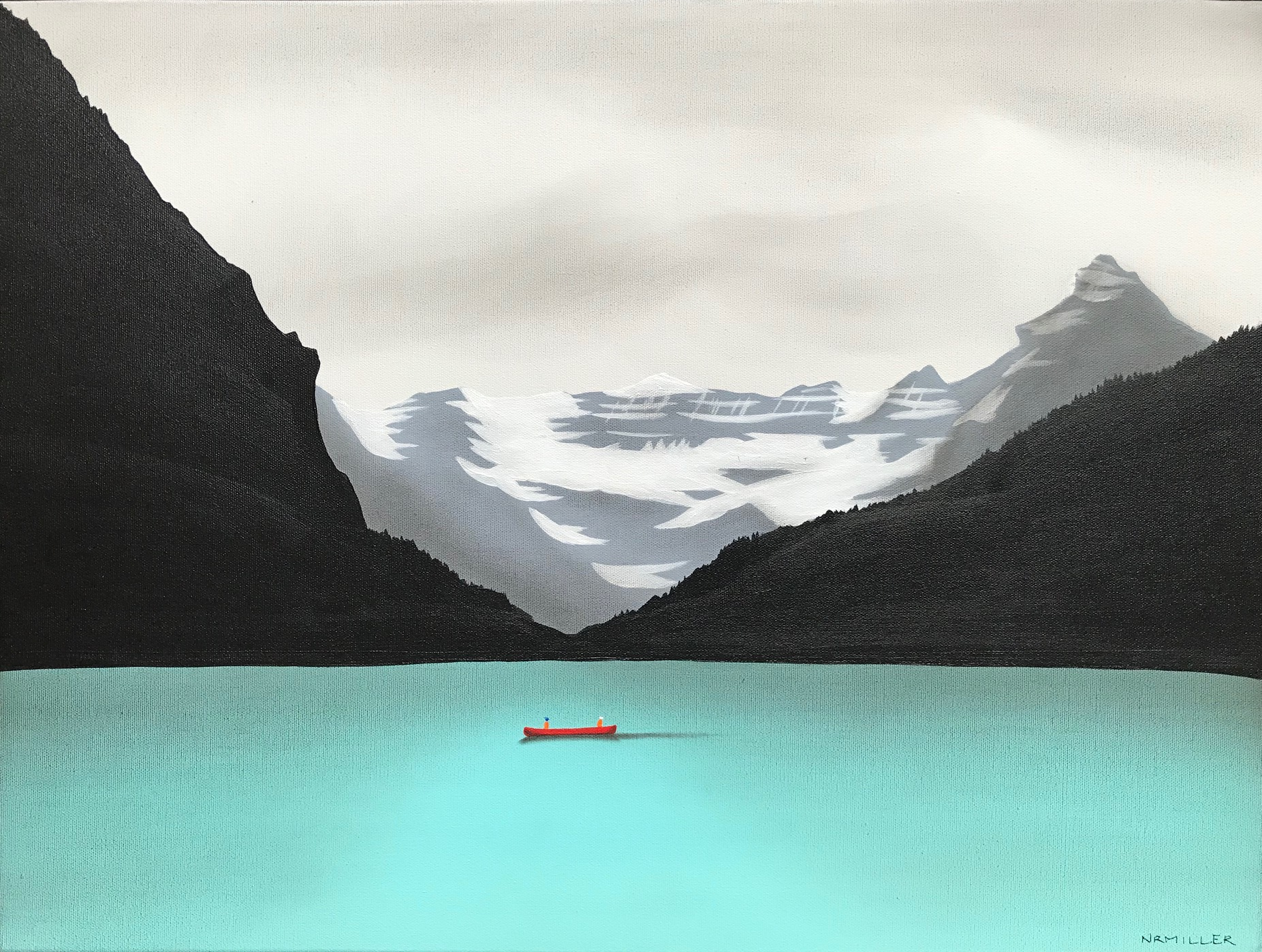 Lasting Impressions, mixed media Lake Louise painting by Natasha Miller | Effusion Art Gallery + Cast Glass Studio, Invermere BC