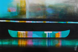 De tout son long, mixed media canoe painting by Sylvain Leblanc | Effusion Art Gallery + Cast Glass Studio, Invermere BC