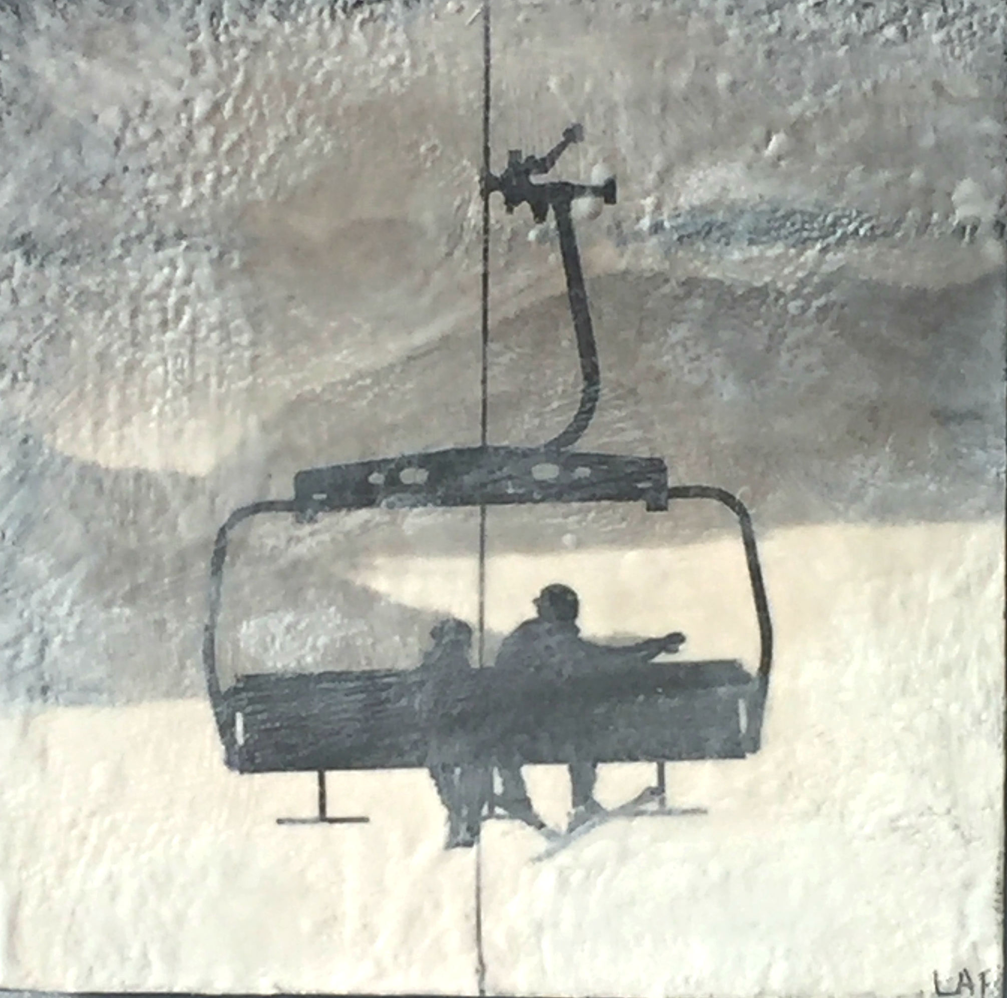 On the Lift 2, encaustic ski painting by Lee Anne LaForge | Effusion Art Gallery + Cast Glass Studio, Invermere BC