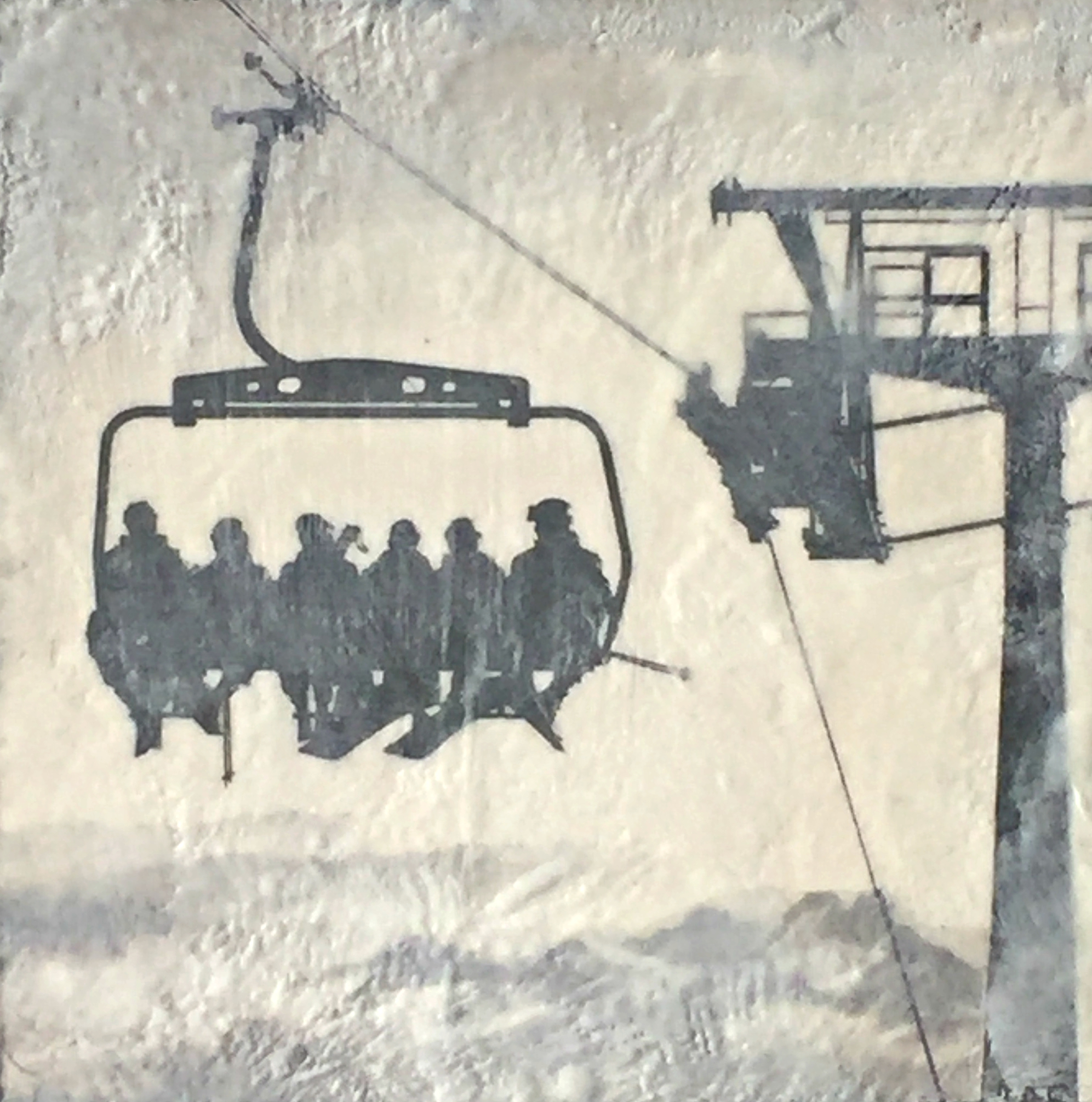 On the Lift 3, encaustic ski painting by Lee Anne LaForge | Effusion Art Gallery + Cast Glass Studio, Invermere BC
