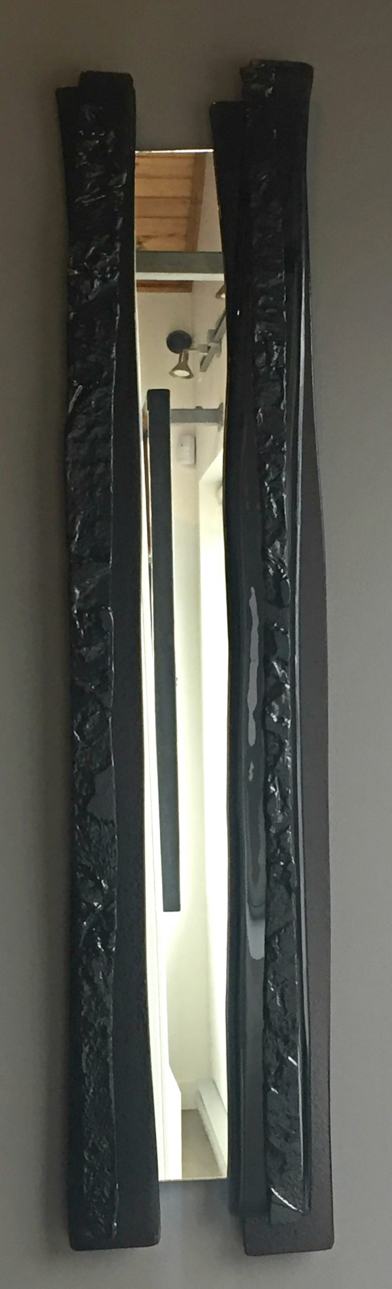 Reflections #4, cast glass mirror by Heather Cuell | Effusion Art Gallery + Cast Glass Studio, Invermere BC