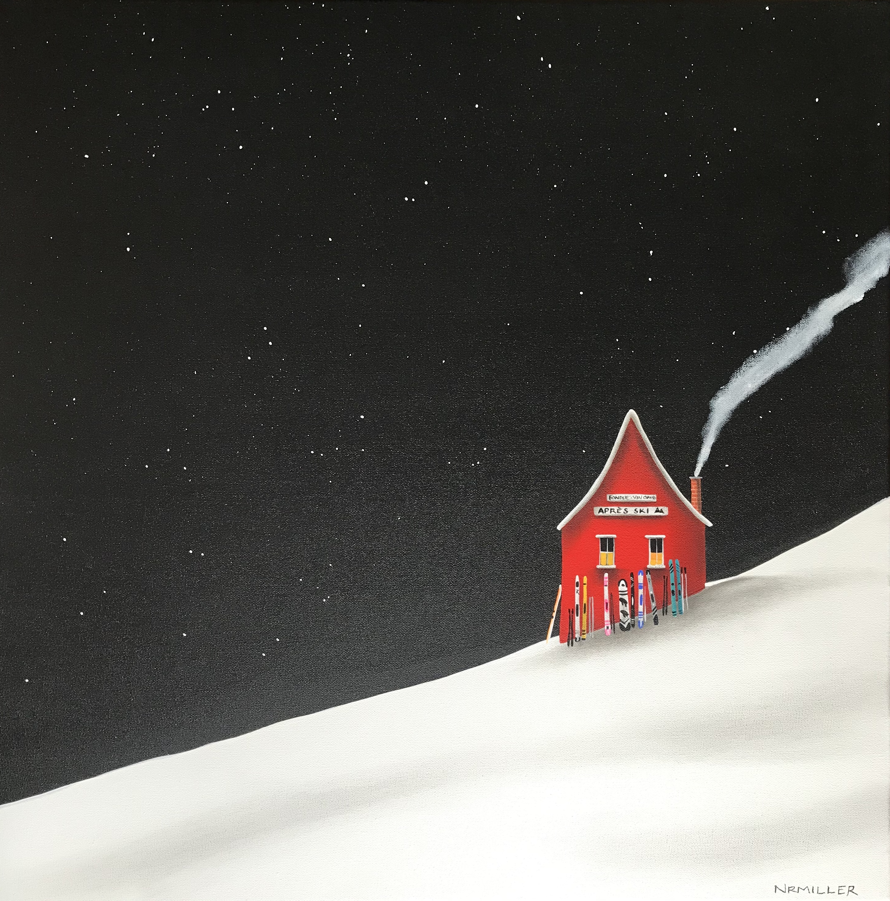 Fondue with You, mixed media ski chalet painting by Natasha Miller | Effusion Art Gallery + Cast Glass Studio, Invermere BC