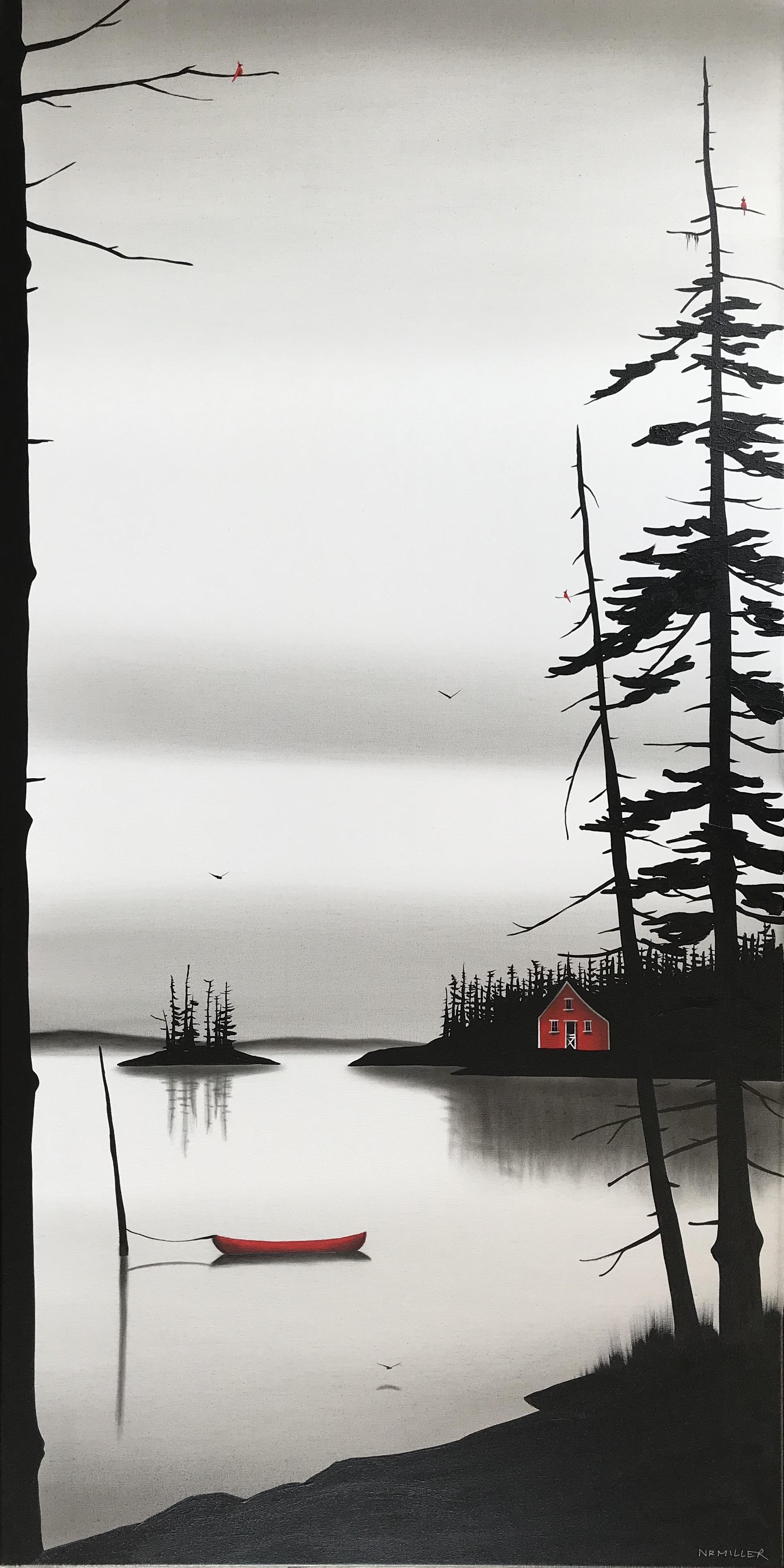 Slowly Passing Time, mixed media landscape painting by Natasha Miller | Effusion Art Gallery + Cast Glass Studio, Invermere BC