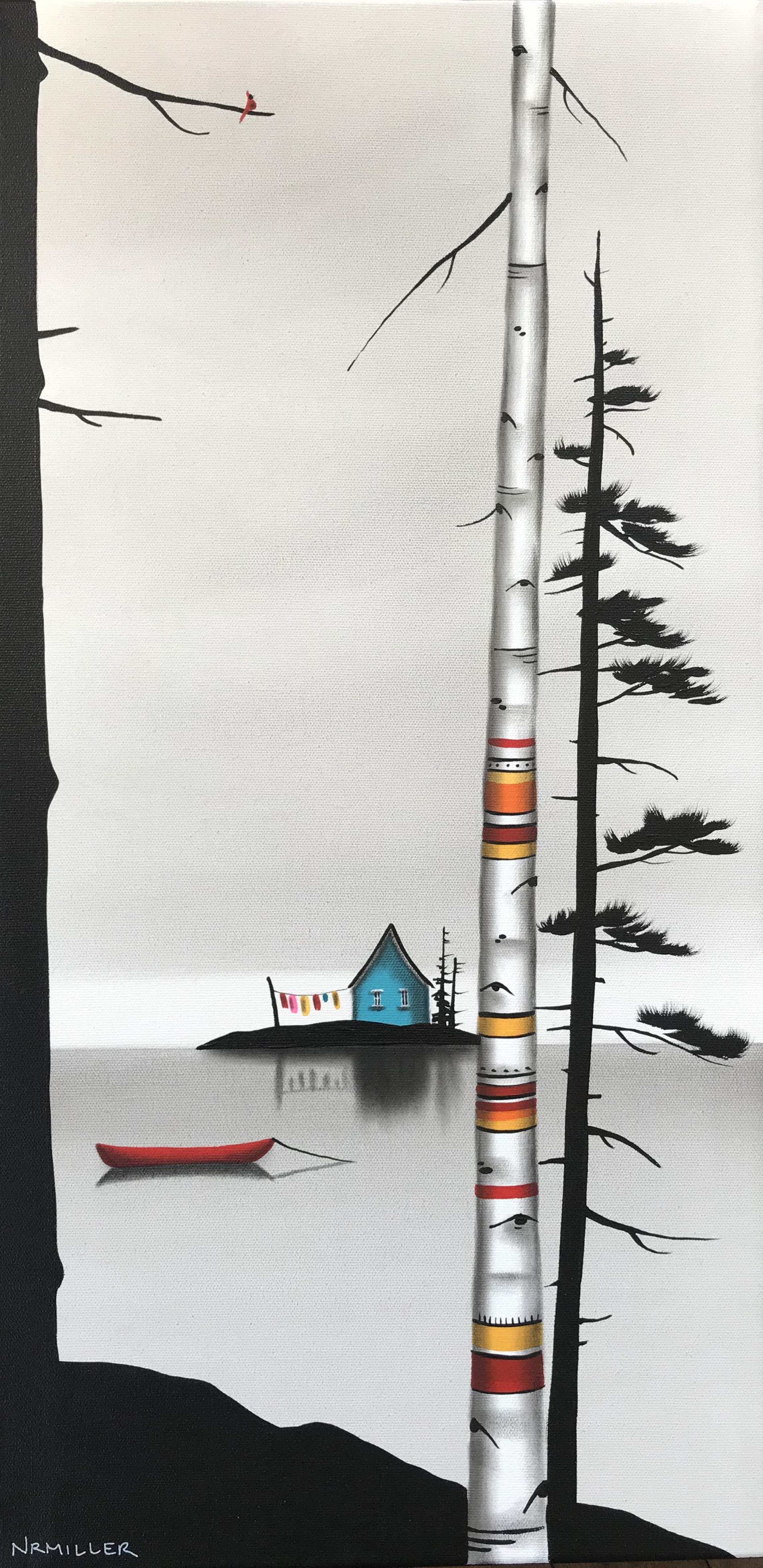 The Canadian Riviera, mixed media landscape painting by Natasha Miller | Effusion Art Gallery + Cast Glass Studio, Invermere BC