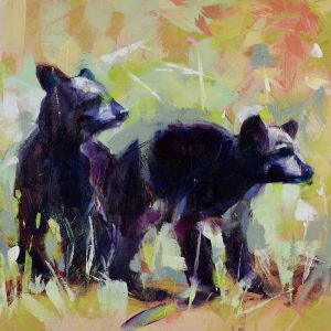Bear Cubs 2, original bear painting by Verne Busby | Effusion Art Gallery + Cast Glass Studio, Invermere BC