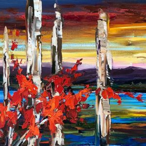 Light of a Clear Blue Morning, oil landscape painting by Kimberly Kiel | Effusion Art Gallery + Cast Glass Studio, Invermere BC