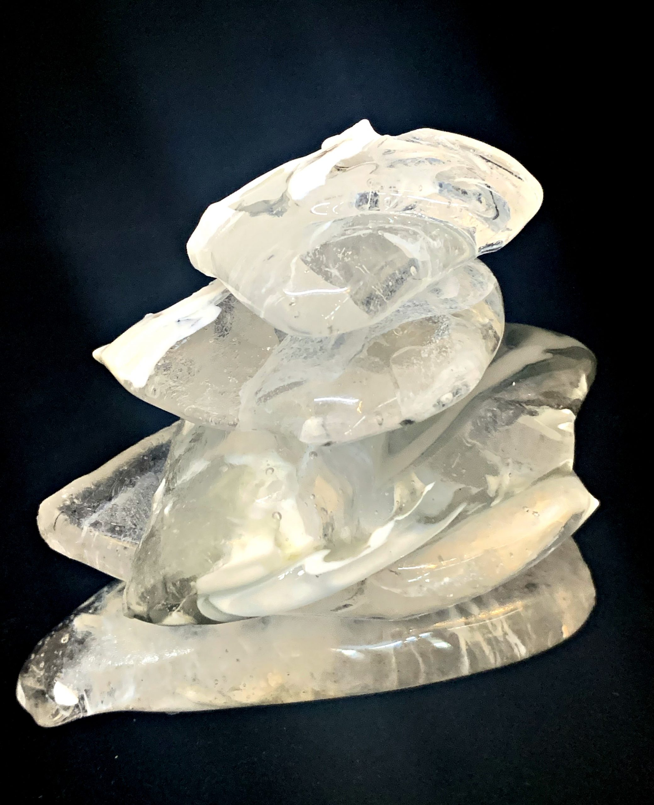 Cast Glass Rocky Mountain Cairn 12 sculpture by Heather Cuell | Effusion Art Gallery + Cast Glass Studio, Invermere BC
