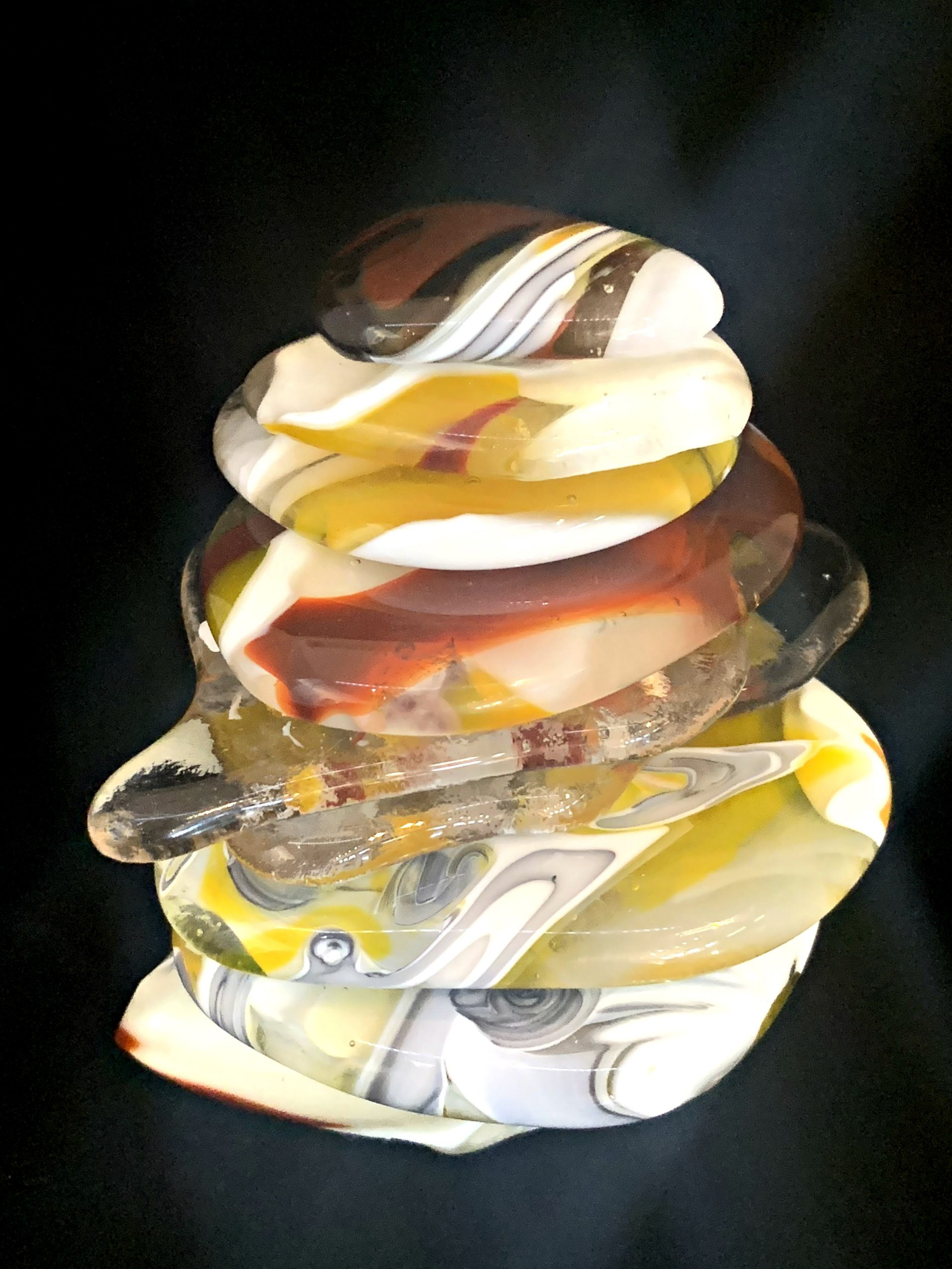 Cast Glass Rocky Mountain Cairn 14 sculpture by Heather Cuell | Effusion Art Gallery + Cast Glass Studio, Invermere BC