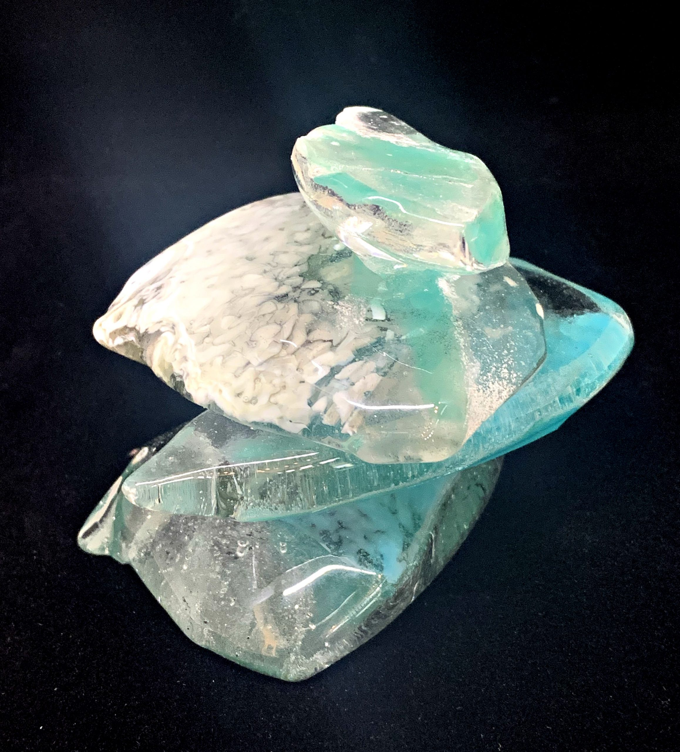 Cast Glass Rocky Mountain Cairn 15 sculpture by Heather Cuell | Effusion Art Gallery + Cast Glass Studio, Invermere BC