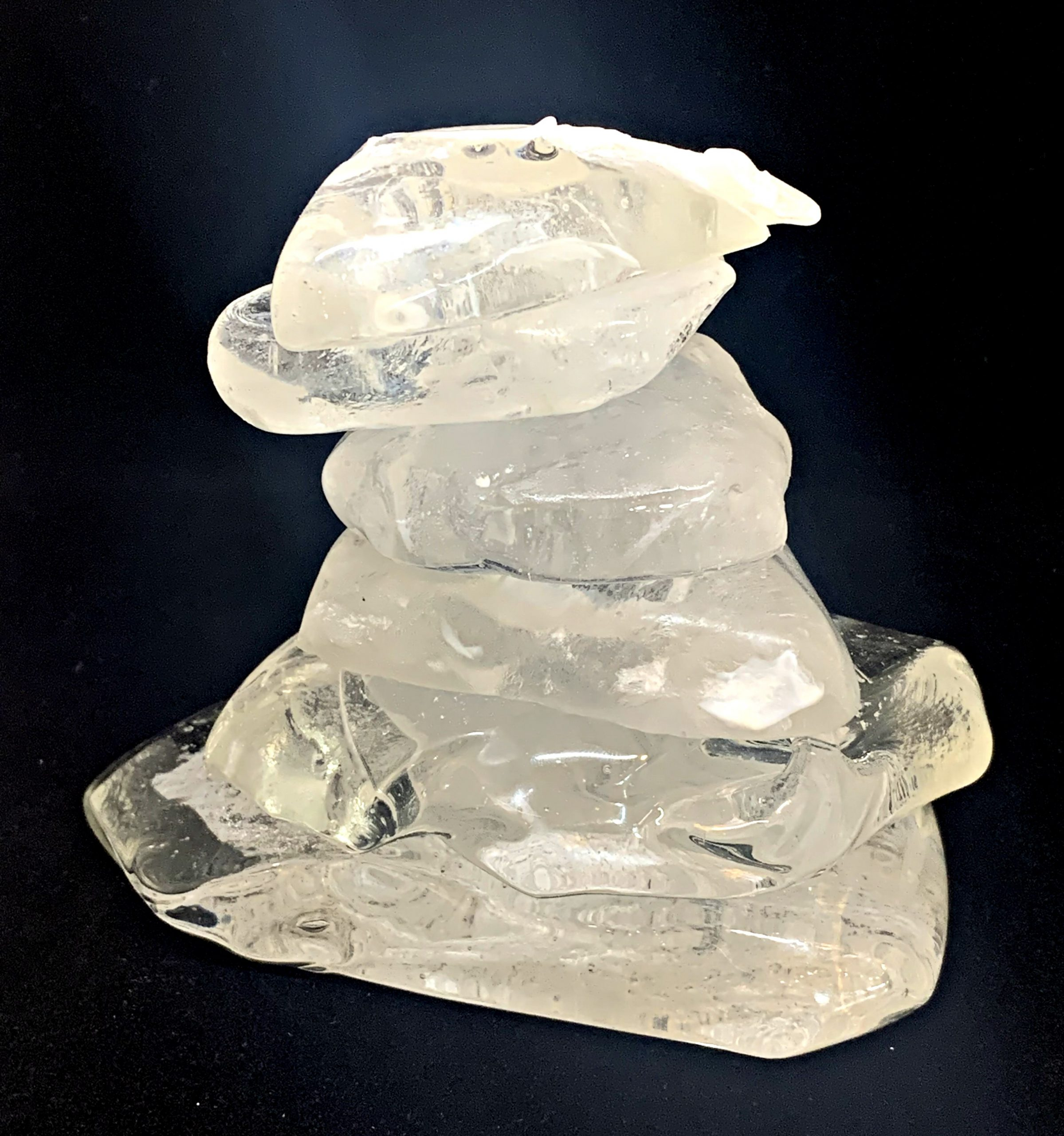 Cast Glass Rocky Mountain Cairn 9 sculpture by Heather Cuell | Effusion Art Gallery + Cast Glass Studio, Invermere BC